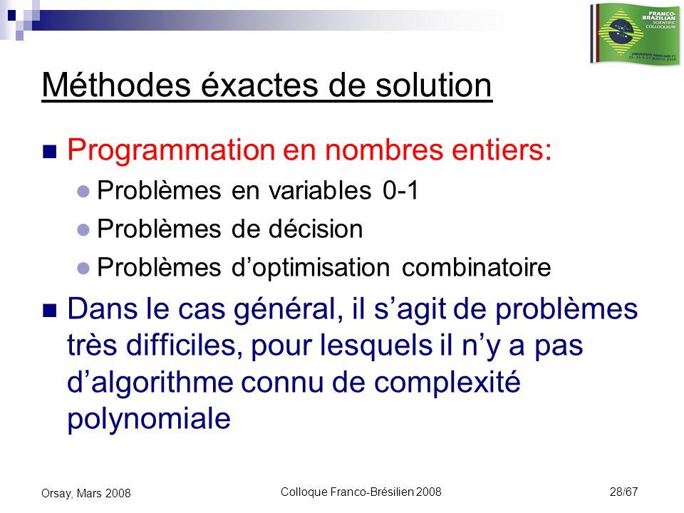 Méthodes éxactes de solution