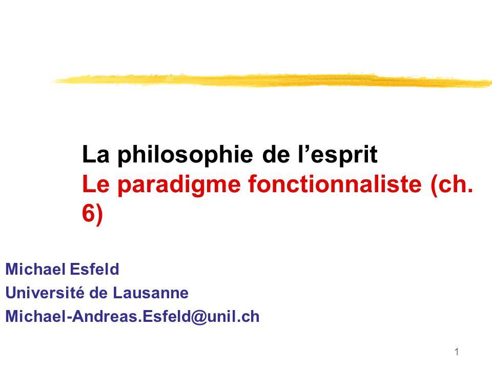 La philosophie de l'esprit Le paradigme fonctionnaliste (ch. 6)