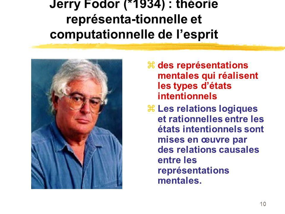 Jerry Fodor (*1934) : théorie représenta-tionnelle et computationnelle de l'esprit