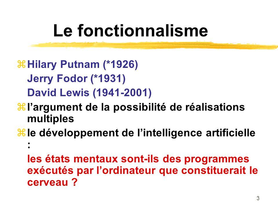 Le fonctionnalisme Hilary Putnam (*1926) Jerry Fodor (*1931)