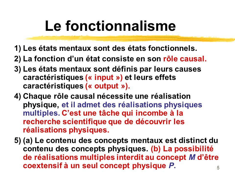 Le fonctionnalisme 1) Les états mentaux sont des états fonctionnels.