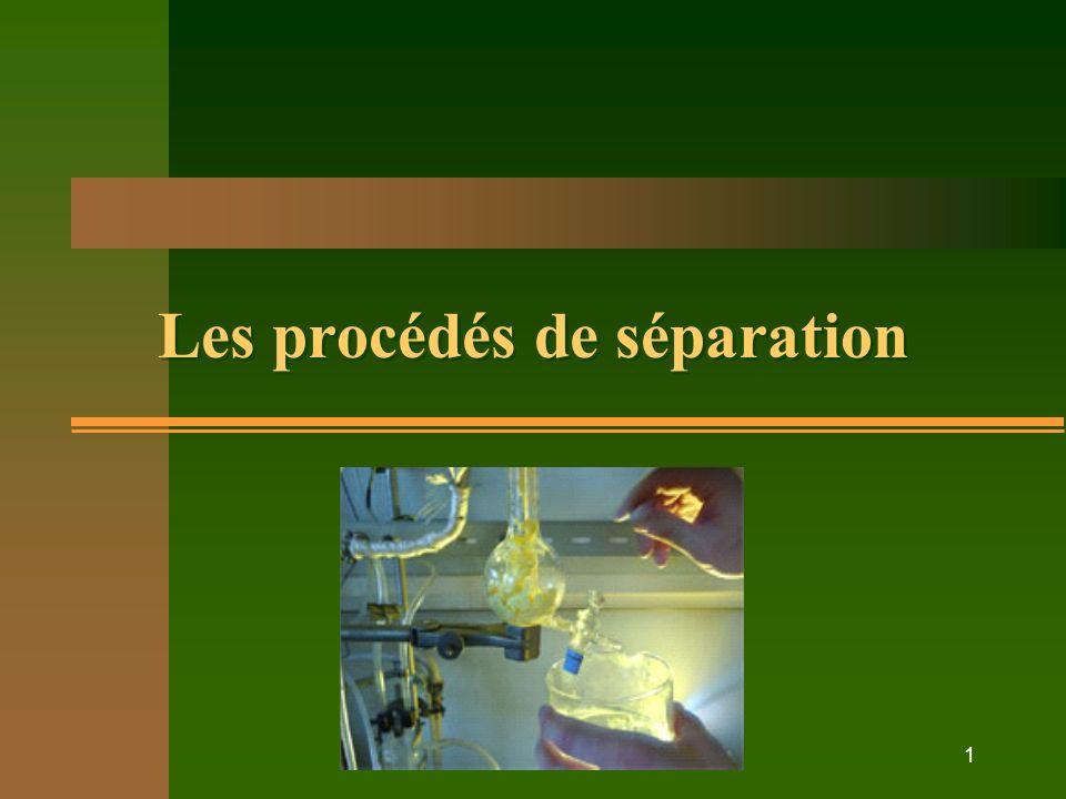 Les procédés de séparation