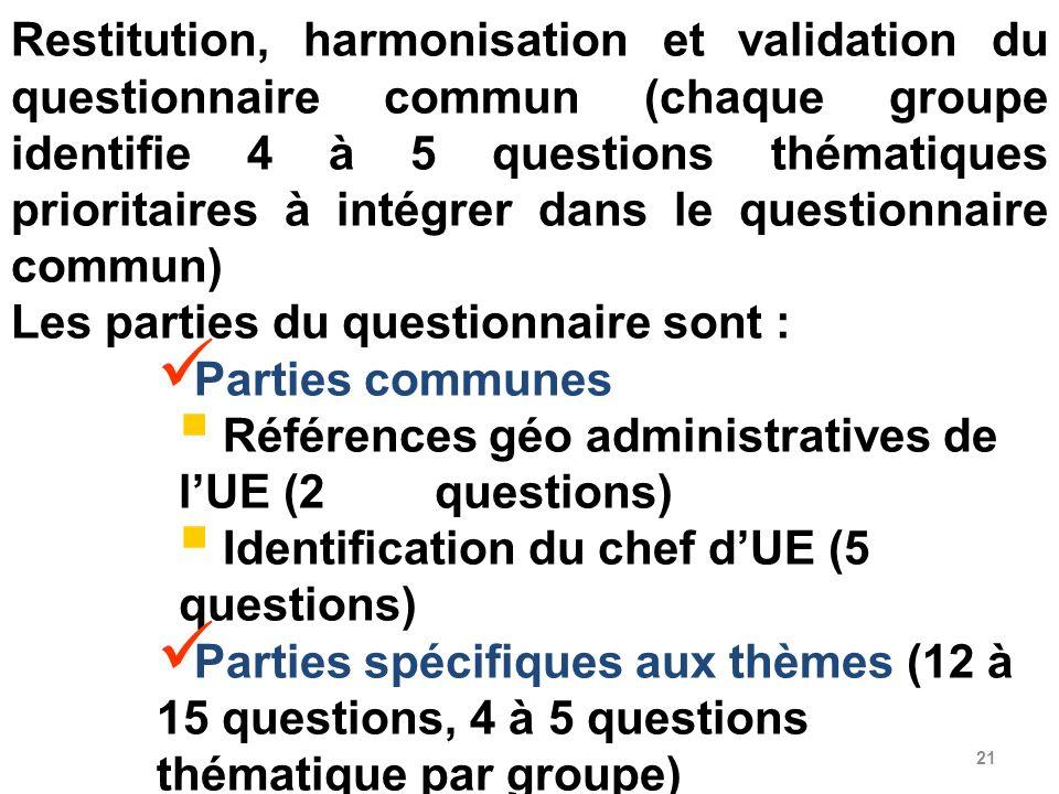 Restitution, harmonisation et validation du questionnaire commun (chaque groupe identifie 4 à 5 questions thématiques prioritaires à intégrer dans le questionnaire commun)