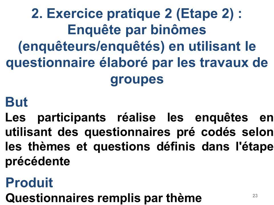2. Exercice pratique 2 (Etape 2) : Enquête par binômes (enquêteurs/enquêtés) en utilisant le questionnaire élaboré par les travaux de groupes