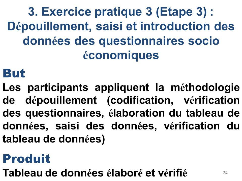 3. Exercice pratique 3 (Etape 3) : Dépouillement, saisi et introduction des données des questionnaires socio économiques