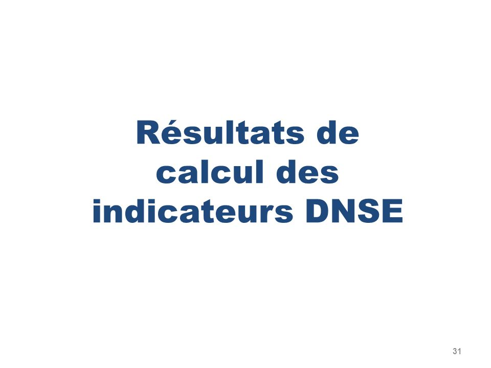 Résultats de calcul des indicateurs DNSE