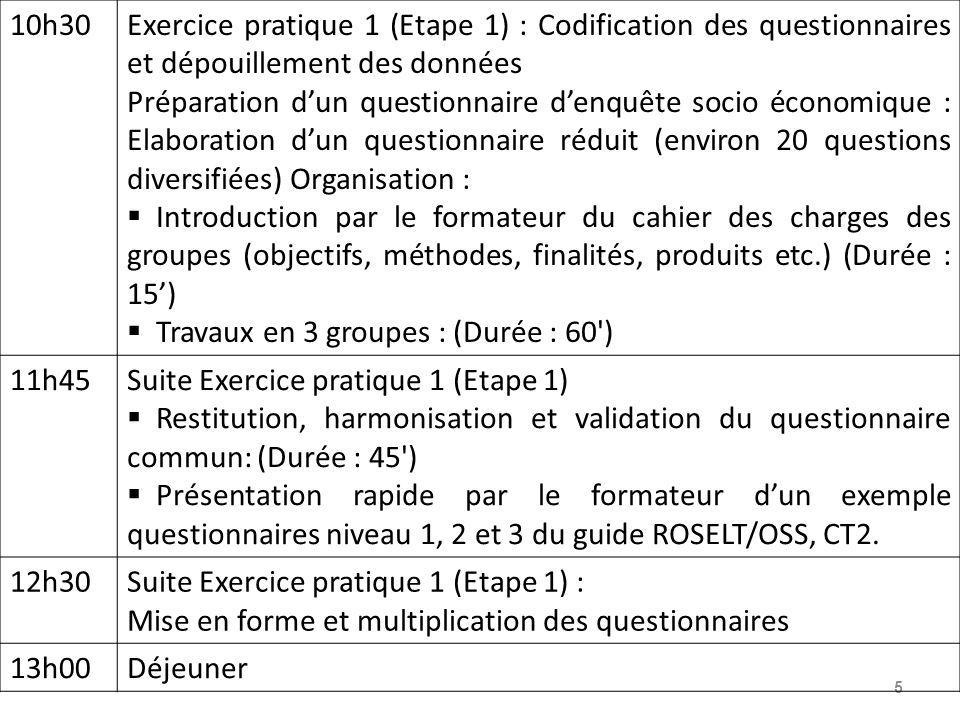 10h30 Exercice pratique 1 (Etape 1) : Codification des questionnaires et dépouillement des données.