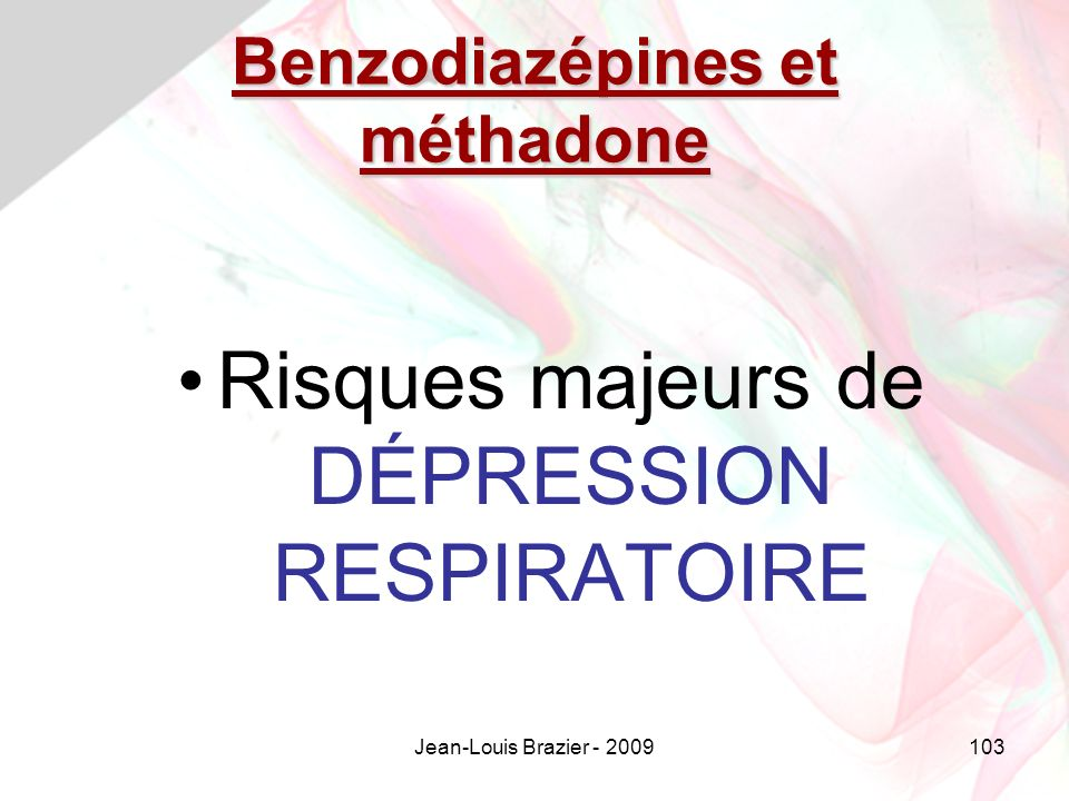 Benzodiazépines et méthadone