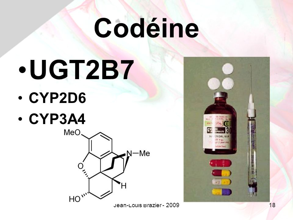 Codéine UGT2B7 CYP2D6 CYP3A4 Jean-Louis Brazier - 2009