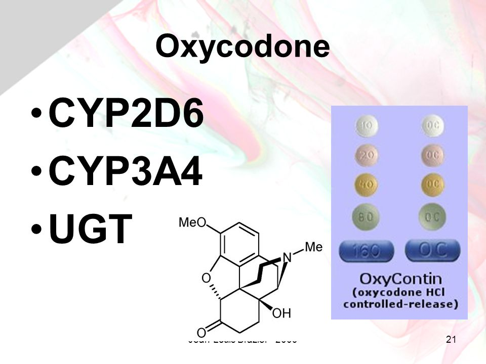Oxycodone CYP2D6 CYP3A4 UGT Jean-Louis Brazier - 2009