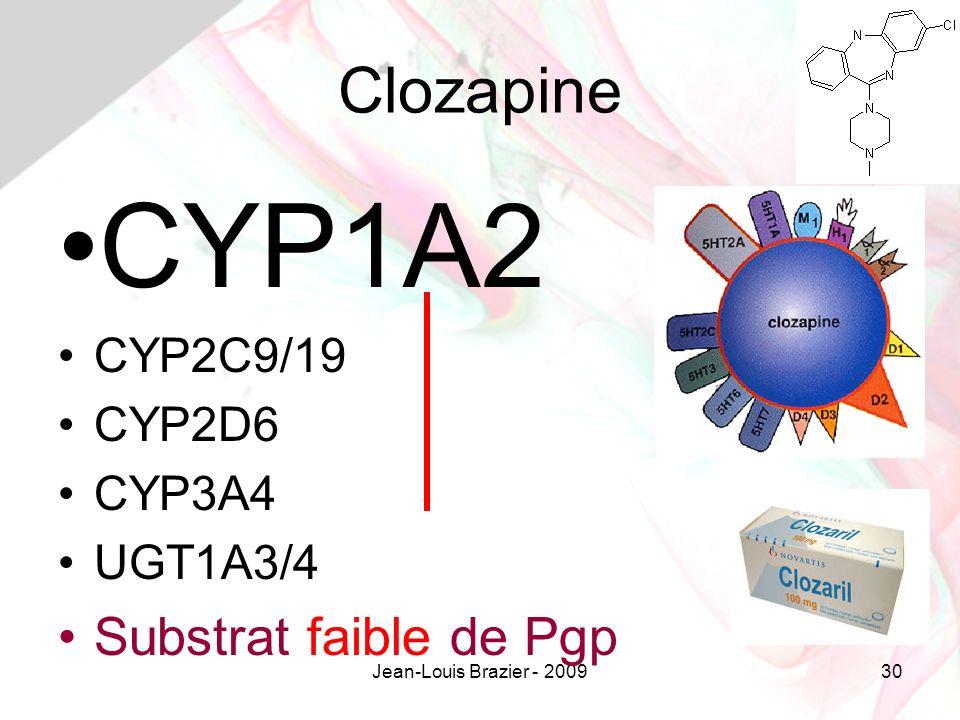 CYP1A2 Clozapine Substrat faible de Pgp CYP2C9/19 CYP2D6 CYP3A4