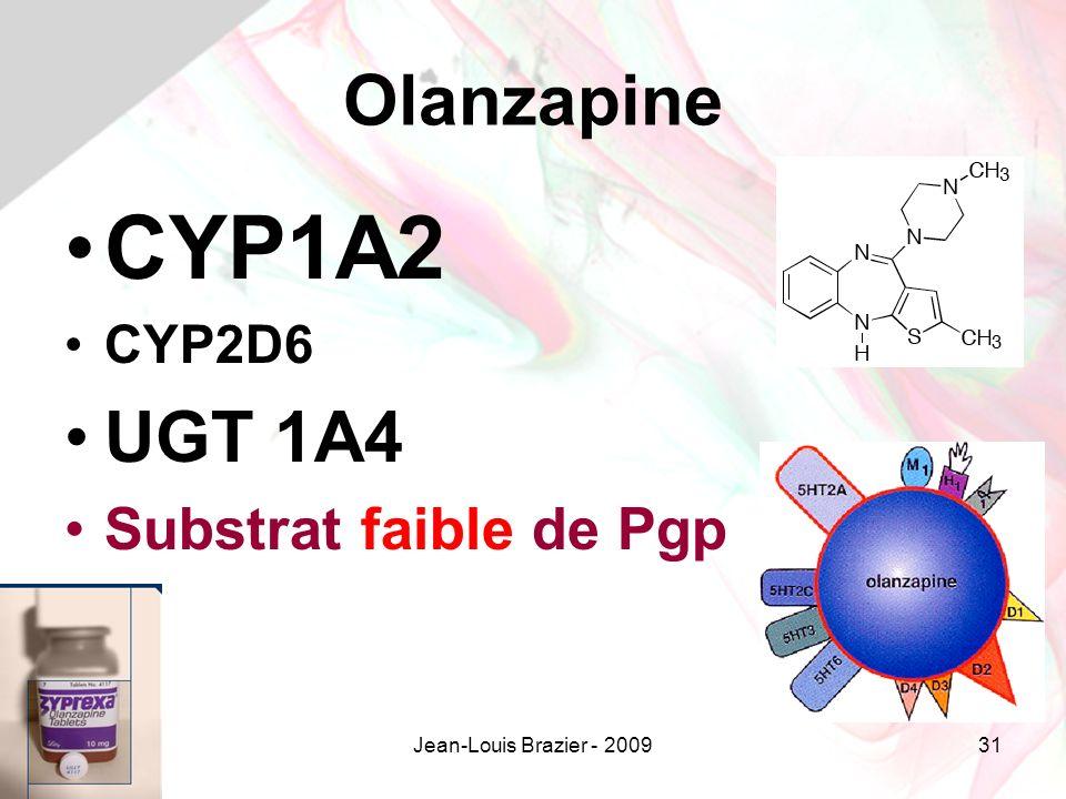 CYP1A2 Olanzapine UGT 1A4 Substrat faible de Pgp CYP2D6
