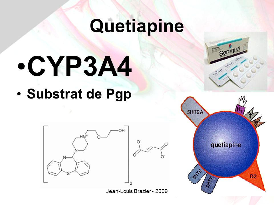 Quetiapine CYP3A4 Substrat de Pgp Jean-Louis Brazier - 2009