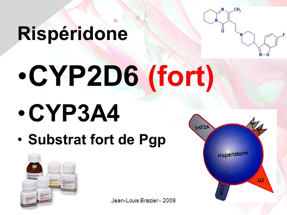 CYP2D6 (fort) CYP3A4 Rispéridone Substrat fort de Pgp