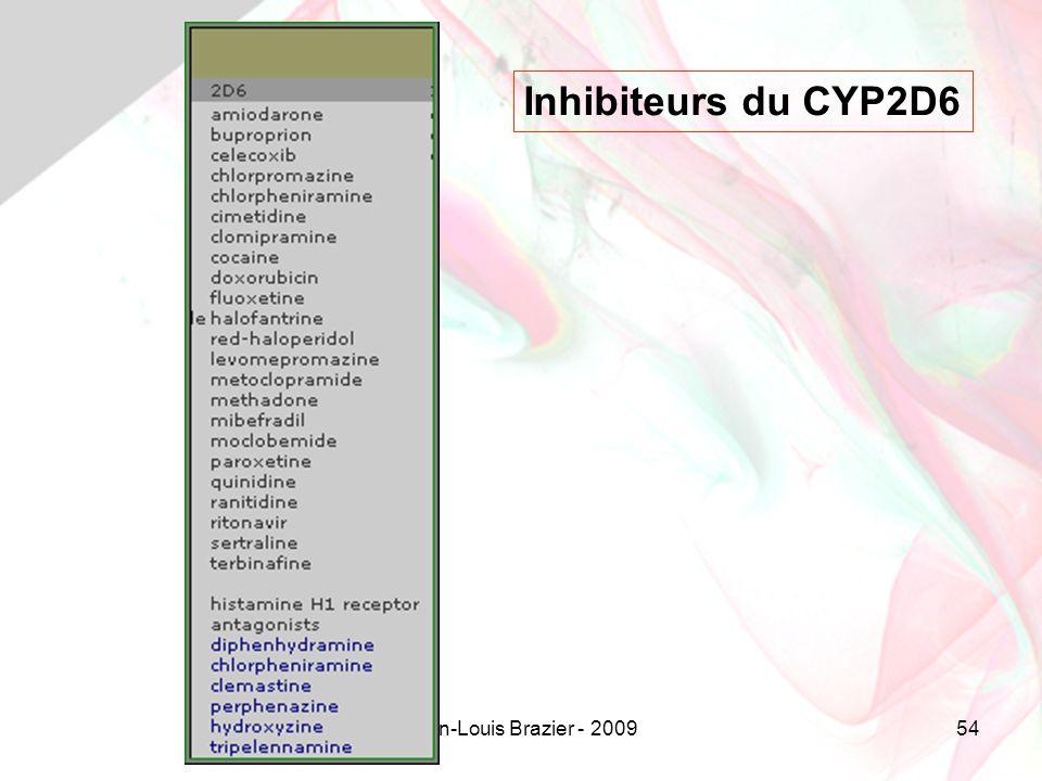 Inhibiteurs du CYP2D6 Jean-Louis Brazier - 2009