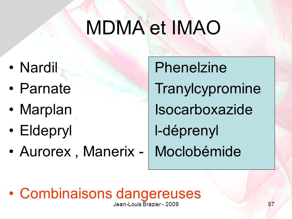 MDMA et IMAO Nardil Phenelzine Parnate Tranylcypromine