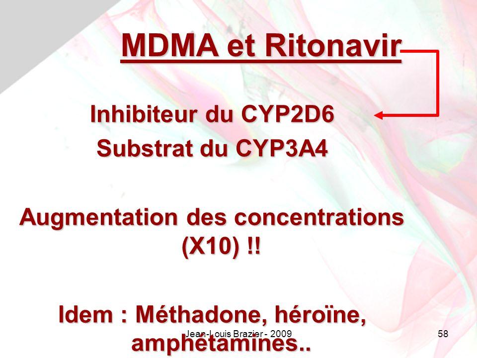 MDMA et Ritonavir Inhibiteur du CYP2D6 Substrat du CYP3A4