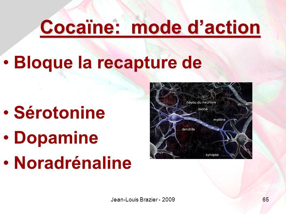 Cocaïne: mode d'action