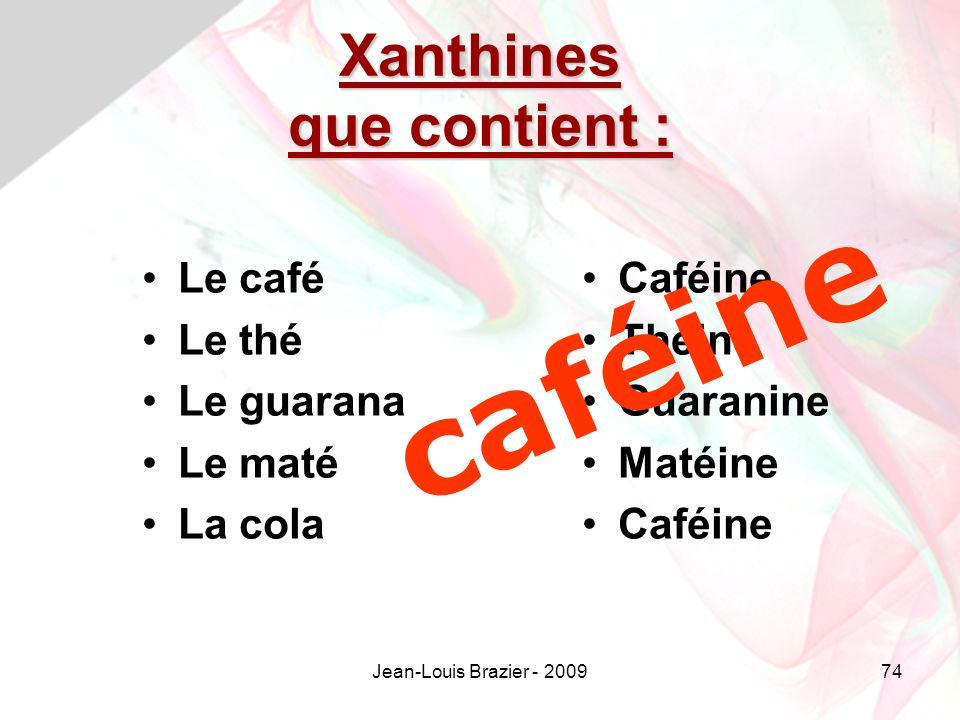 Xanthines que contient :