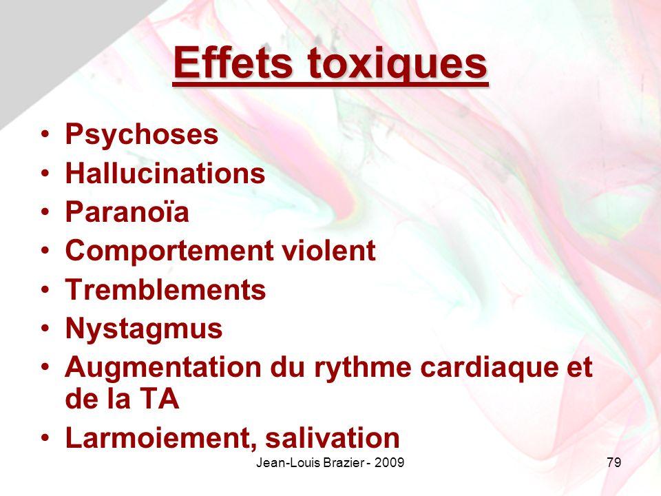 Effets toxiques Psychoses Hallucinations Paranoïa Comportement violent
