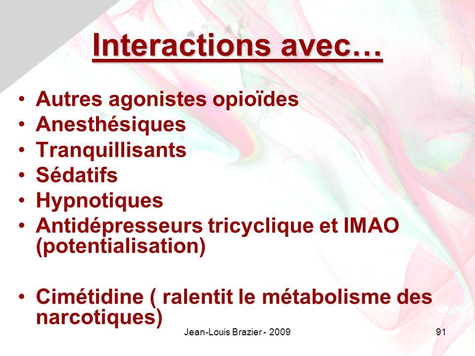 Interactions avec… Autres agonistes opioïdes Anesthésiques