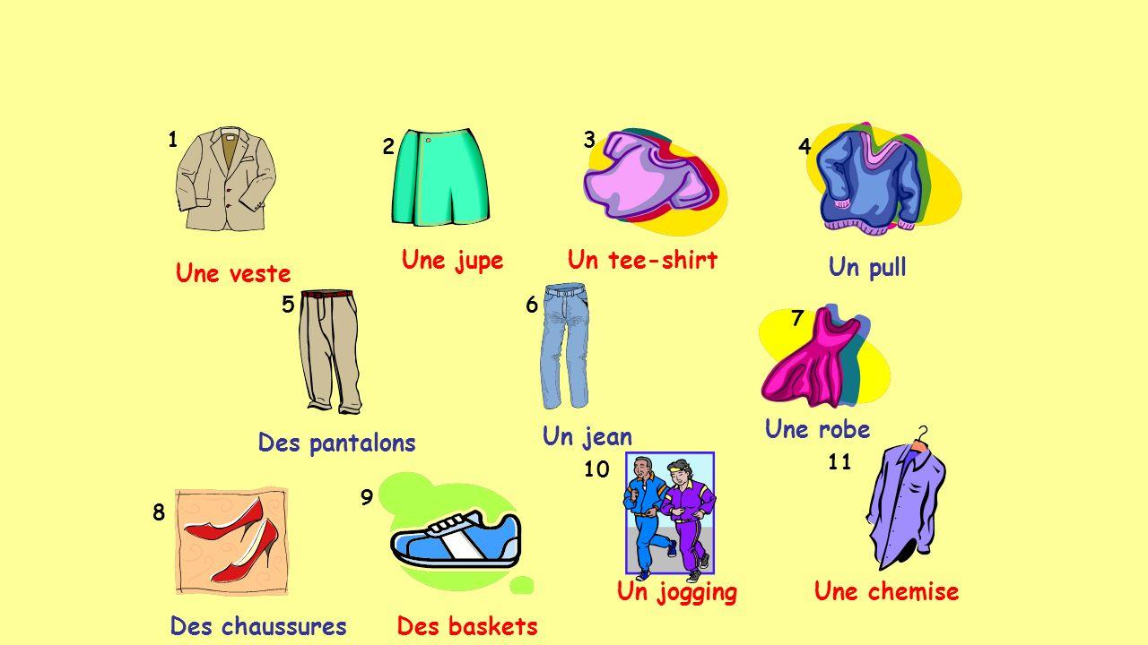 Une jupe Un tee-shirt Un pull Une veste Une robe Un jean Des pantalons