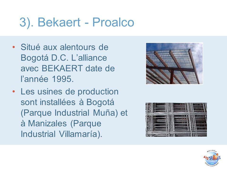 3). Bekaert - Proalco Situé aux alentours de Bogotá D.C. L'alliance avec BEKAERT date de l'année 1995.