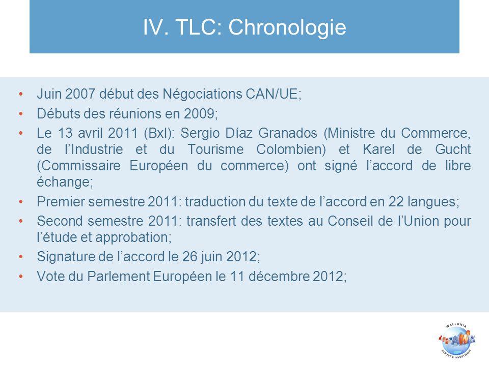 IV. TLC: Chronologie Juin 2007 début des Négociations CAN/UE;