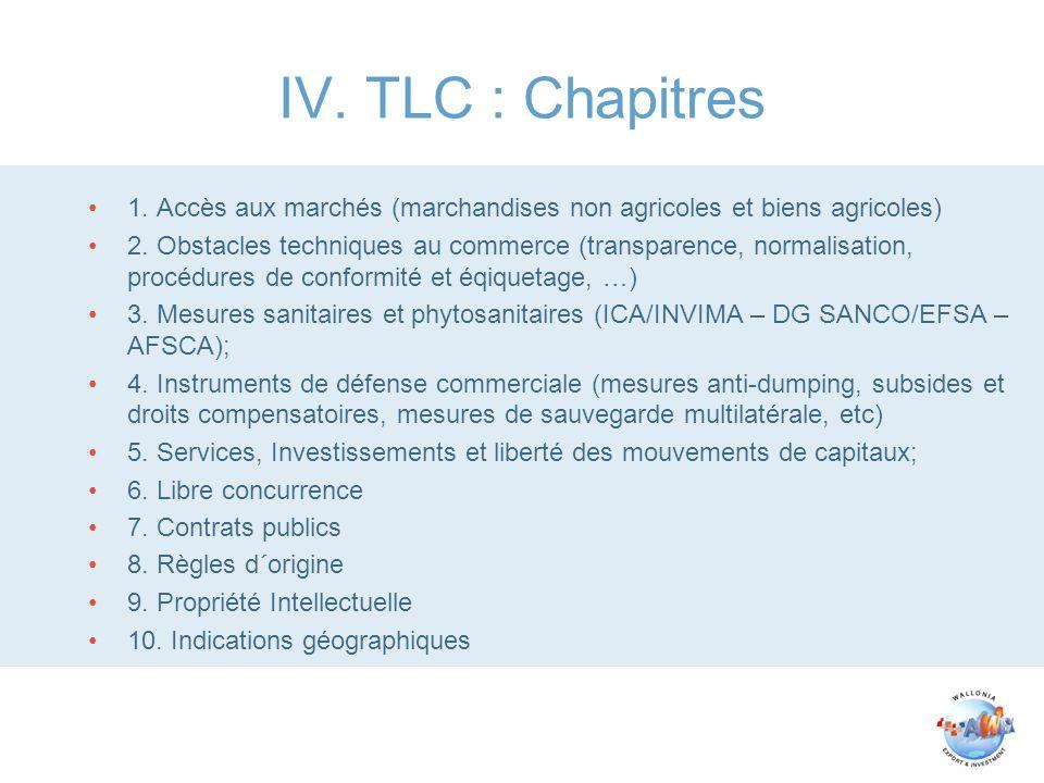 IV. TLC : Chapitres 1. Accès aux marchés (marchandises non agricoles et biens agricoles)