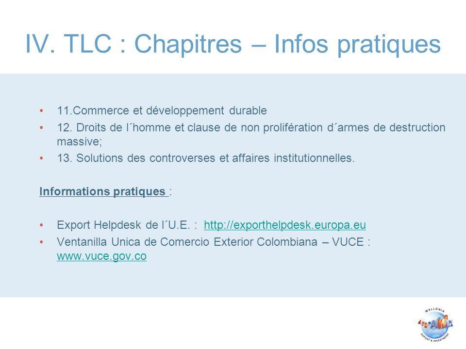 IV. TLC : Chapitres – Infos pratiques