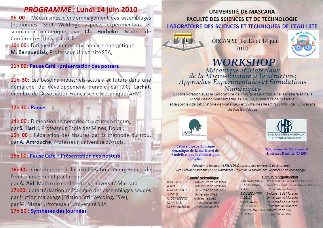 PROGRAMME : Lundi 14 juin 2010 WORKSHOP Mécanique et Matériaux