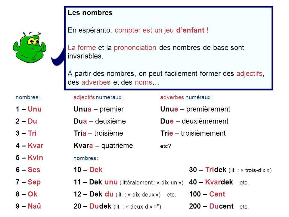 En espéranto, compter est un jeu d'enfant !