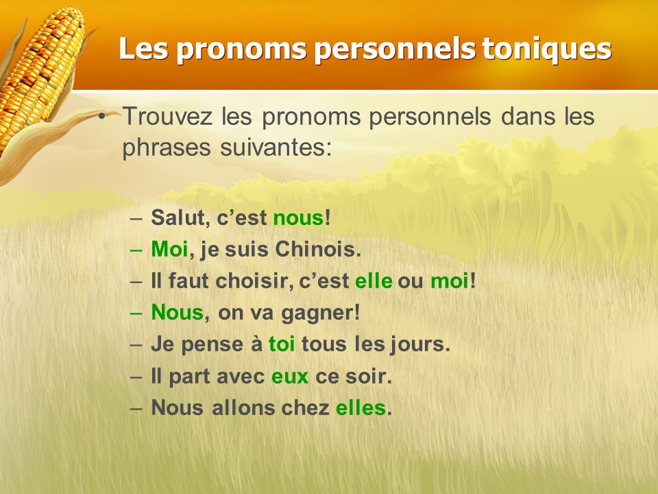 Les pronoms personnels toniques
