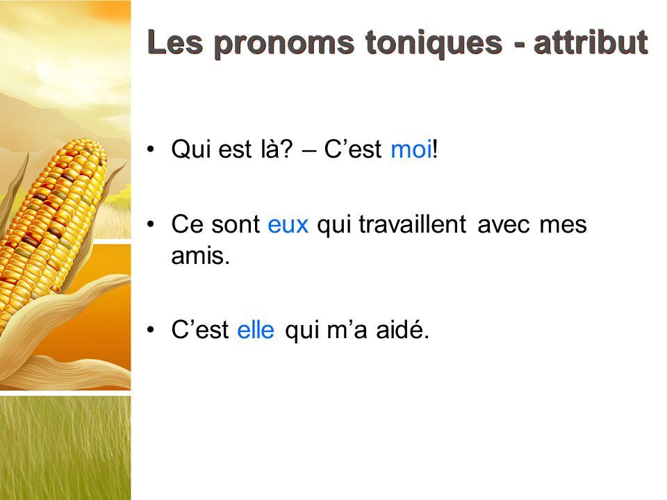 Les pronoms toniques - attribut