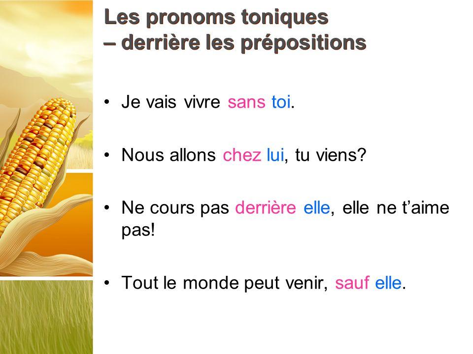 Les pronoms toniques – derrière les prépositions