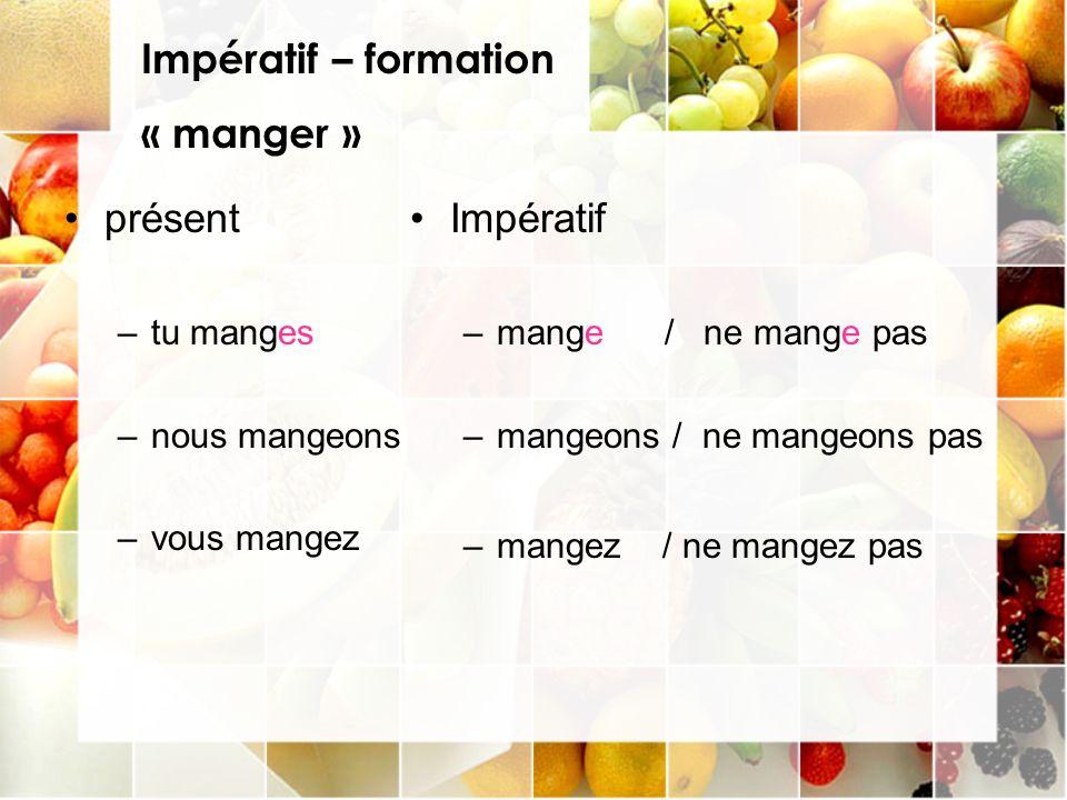 Impératif – formation « manger » présent Impératif tu manges