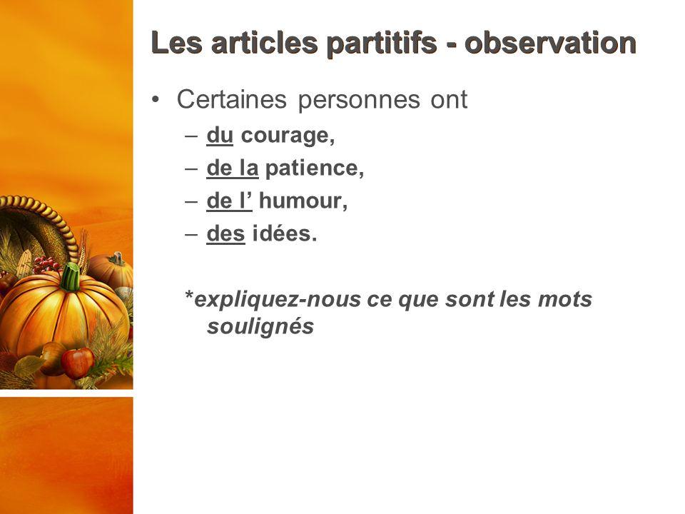 Les articles partitifs - observation