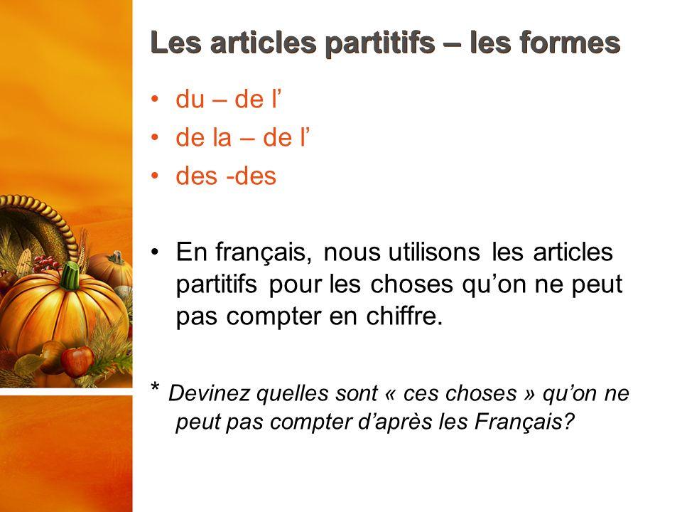 Les articles partitifs – les formes