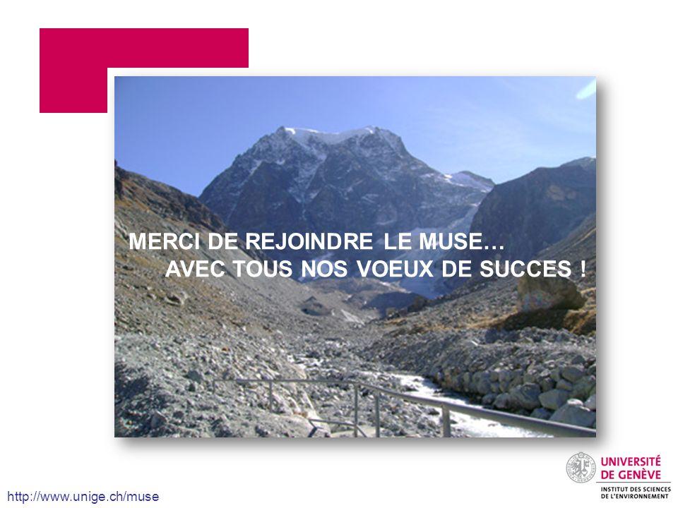 MERCI DE REJOINDRE LE MUSE… AVEC TOUS NOS VOEUX DE SUCCES !