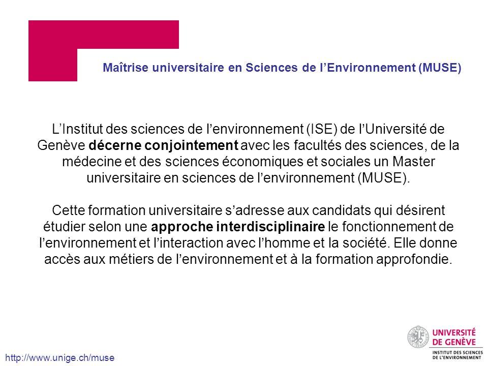 Maîtrise universitaire en Sciences de l'Environnement (MUSE)