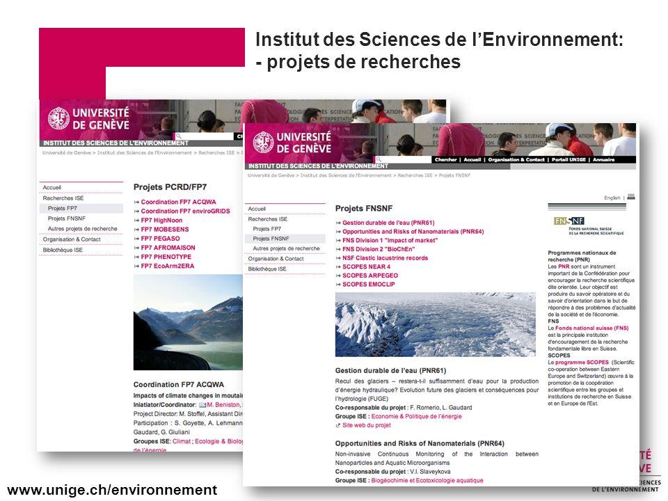 Institut des Sciences de l'Environnement: - projets de recherches