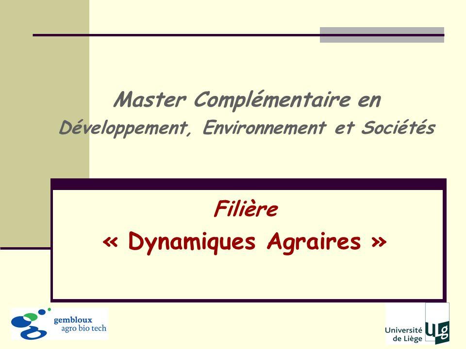 Filière « Dynamiques Agraires »
