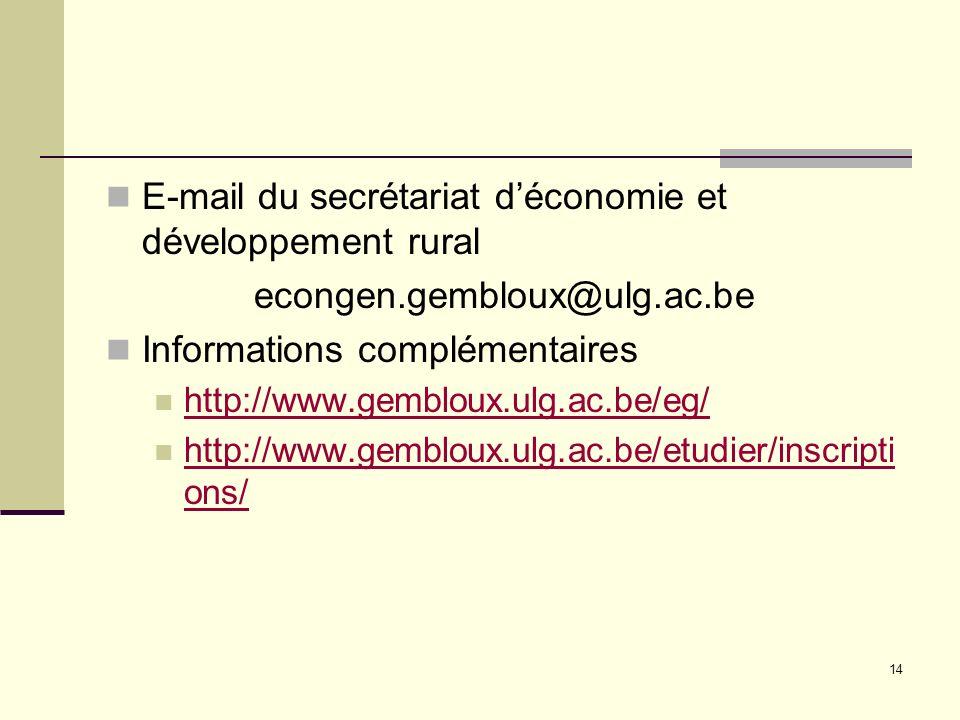 E-mail du secrétariat d'économie et développement rural