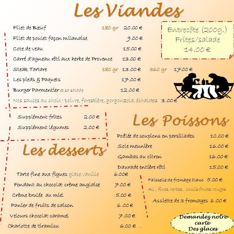Les Viandes Les Poissons Les desserts Entrecôte (200g.) Frites/salade