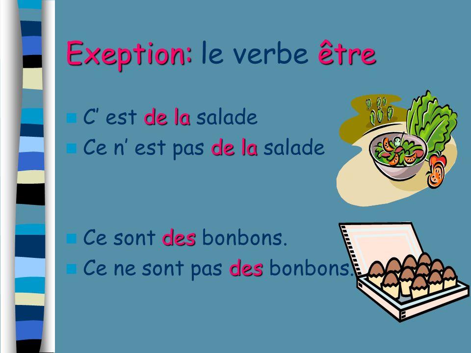 Exeption: le verbe être