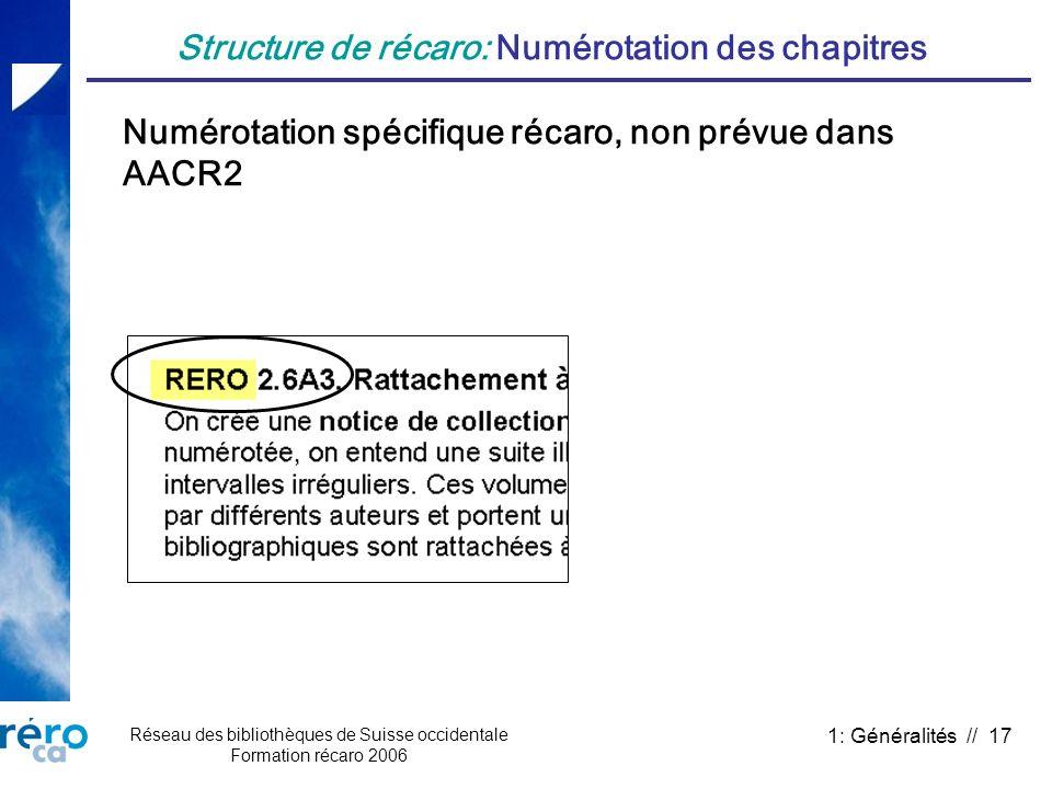Structure de récaro: Numérotation des chapitres