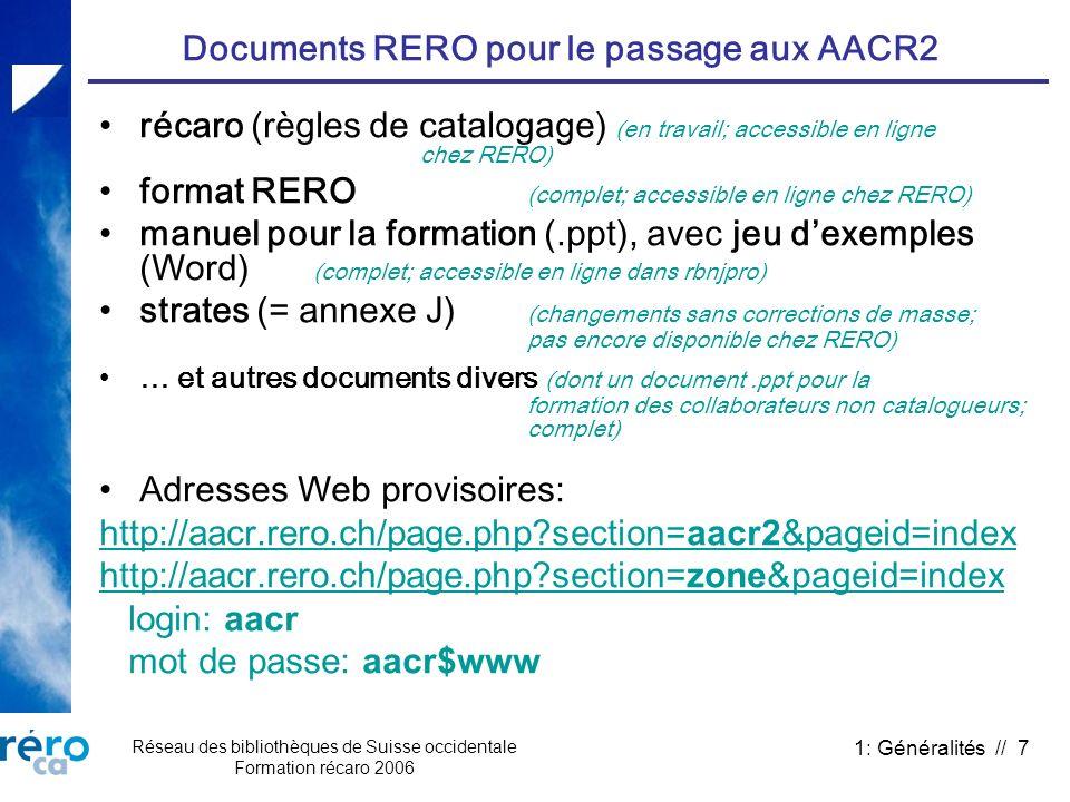 Documents RERO pour le passage aux AACR2