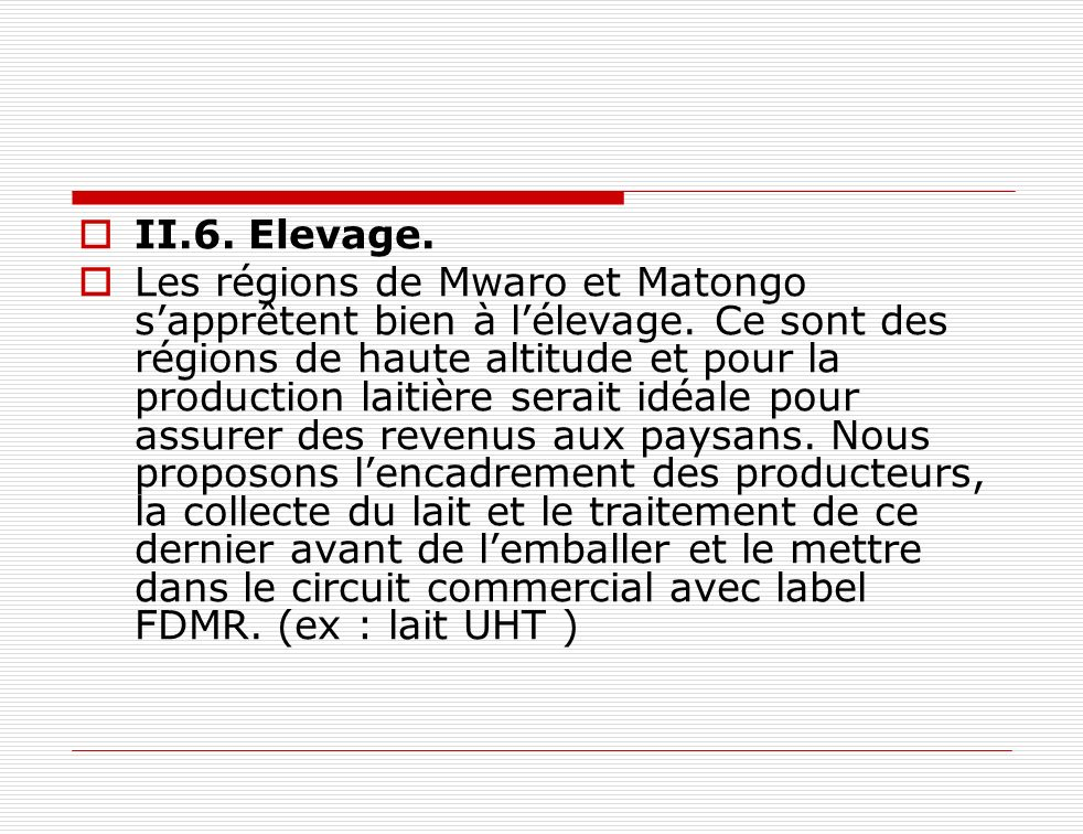 II.6. Elevage.