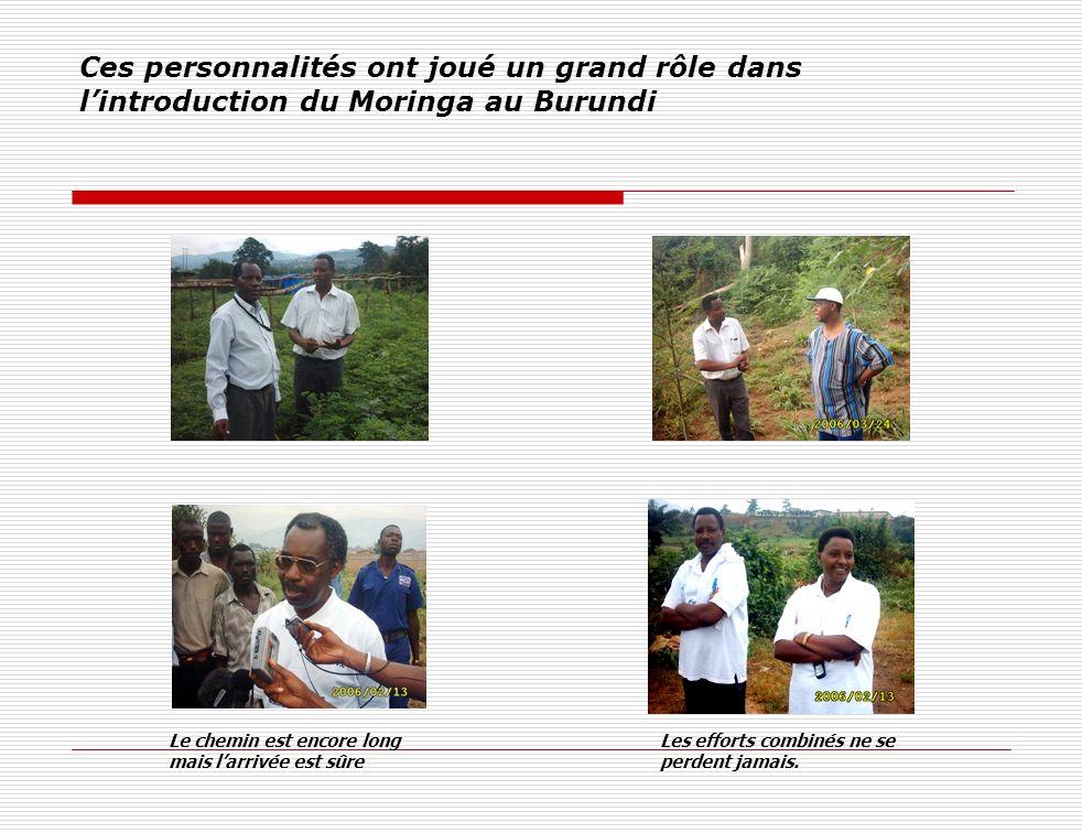 Ces personnalités ont joué un grand rôle dans l'introduction du Moringa au Burundi