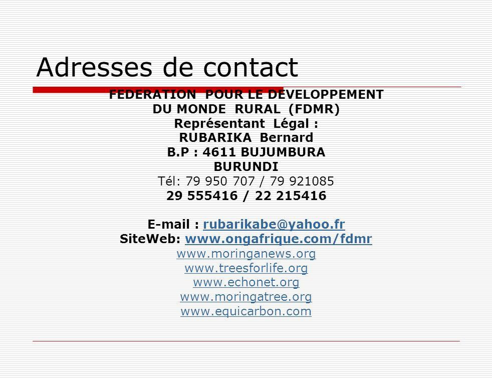 FEDERATION POUR LE DEVELOPPEMENT E-mail : rubarikabe@yahoo.fr